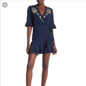 Angie Embroidered Floral Navy Blue Faux Wrap Dress